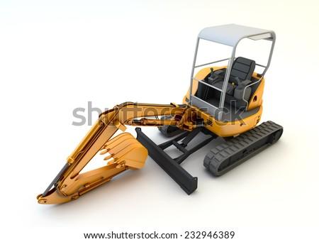 Yellow mini excavator isolated on white background - stock photo