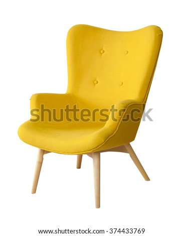 Yellow modern chair isolated on white background - stock photo