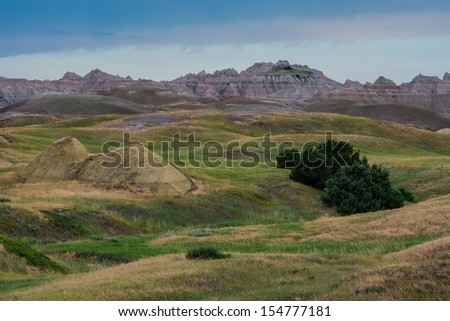 Yellow Mounds area in Badlands National Park in South Dakota - stock photo