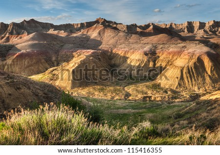 Yellow Mounds - Badlands National Park, South Dakota - stock photo