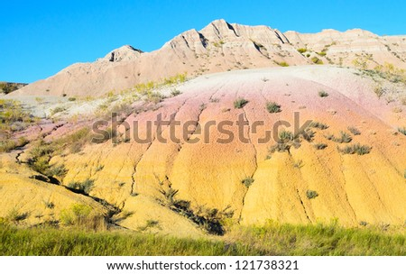 Yellow Mounds, painted desert section of Badlands National Park - stock photo