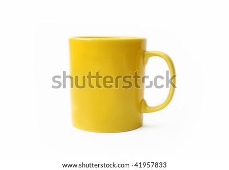 Yellow mug isolated on white - stock photo