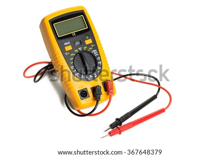 Yellow multimeter close up