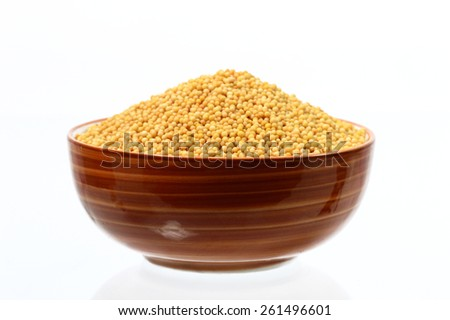 yellow mustard seeds in bowl isolated on white background  - stock photo