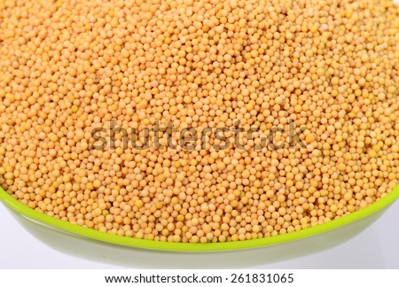 yellow mustard seeds in green bowl isolated on white background  - stock photo
