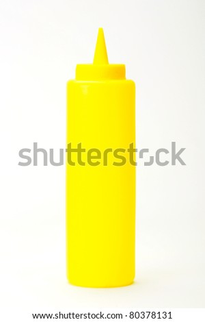 Yellow mustered dispenser isolated on white background