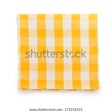 yellow napkin isolated on white background - stock photo
