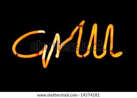 """Yellow Neon Sign which reads """"Grill"""" - stock photo"""