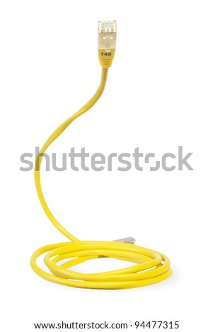 yellow network cable, isolated on white background - stock photo