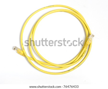 Yellow network cable with RJ-45 connector - stock photo