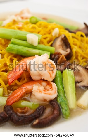 Yellow noodle and shrimp in Chinese style food