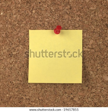 Yellow Note on Cork Board