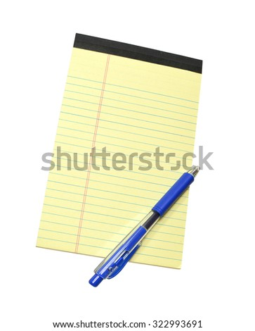 Yellow Note Pad and Blue Pen isolated on white background - stock photo