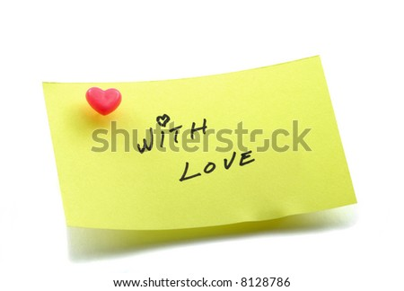 Yellow note paper with heart pushpin handwritten text, with love - stock photo