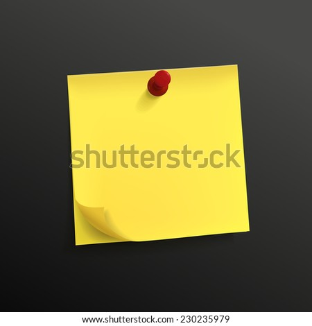 yellow note paper with pin isolated on black background - stock photo