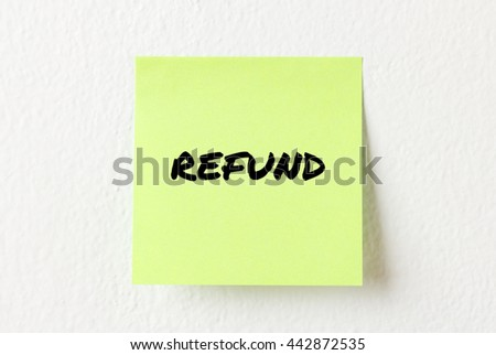 Yellow note paper with words Refund on the white wall
