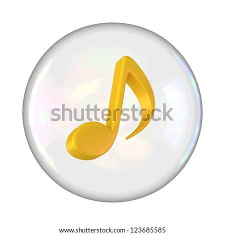 Yellow note sign in soap bubble - stock photo