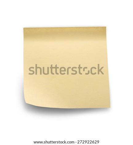 Yellow note sticks on white background - stock photo