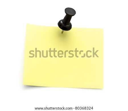 yellow note with black pin isolated on white background - stock photo