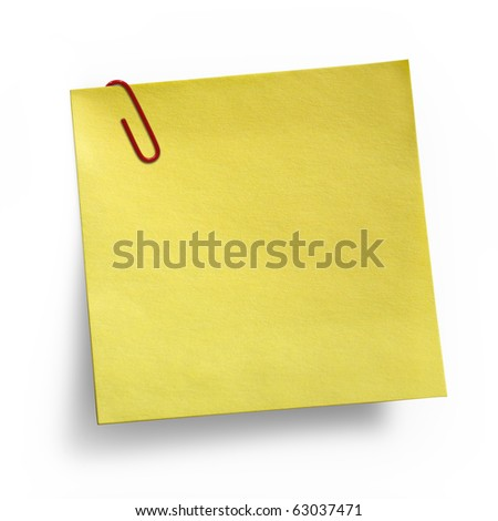 Yellow Note with paper clip isolated on white background - stock photo