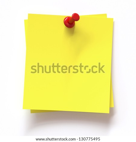 Yellow note with pin on white background - stock photo
