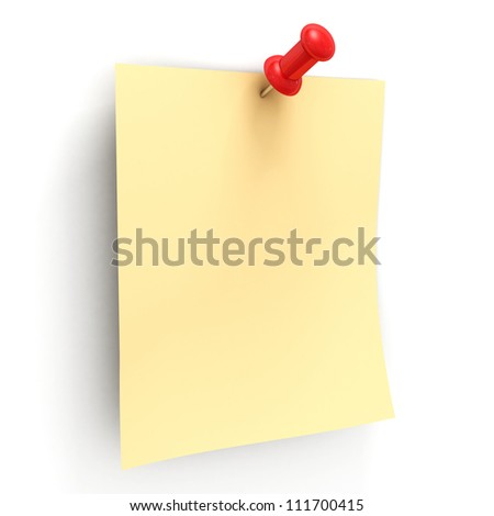 Yellow note with red pin on white background - stock photo