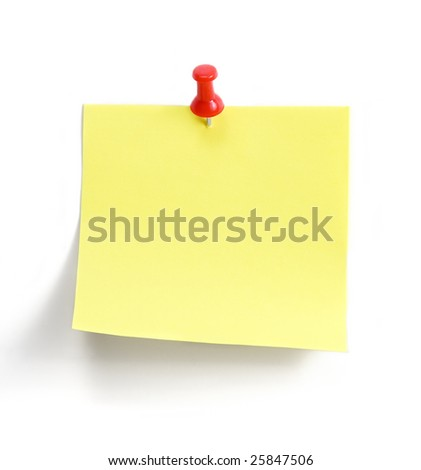 yellow note with red pin over white background - stock photo