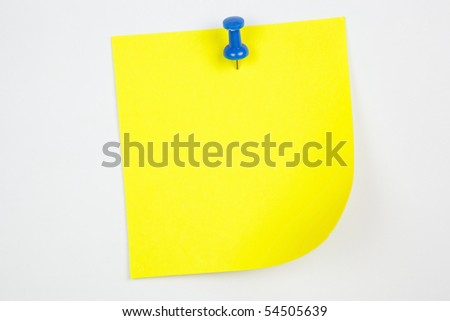 Yellow note with tack - stock photo