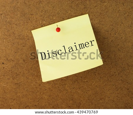 Yellow note with word disclaimer - stock photo