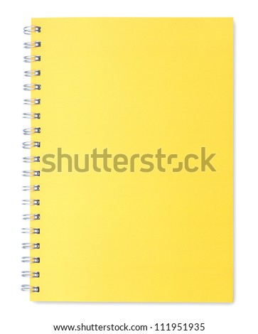 Yellow notebook isolated on white background - stock photo