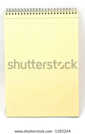 yellow notebook on white