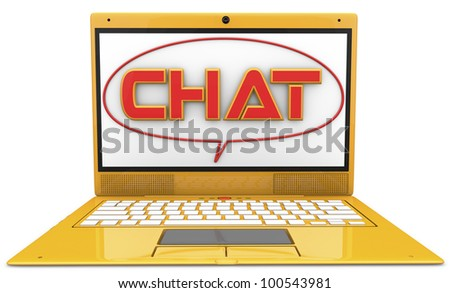 yellow notebook with the word CHAT on the screen