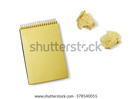 Yellow Notepad and Crumpled Note Paper on a White Background - stock photo