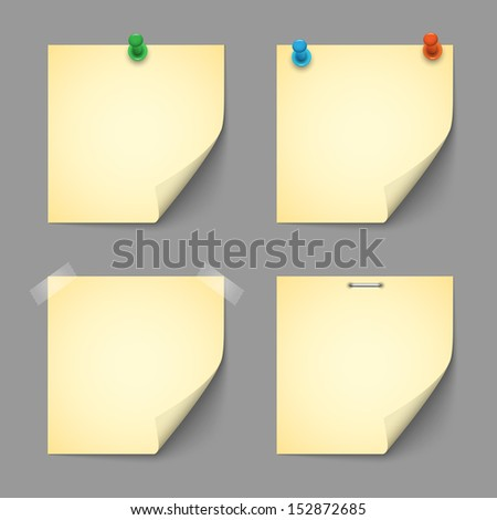 Yellow notice papers with pins and scotch.Raster version - stock photo