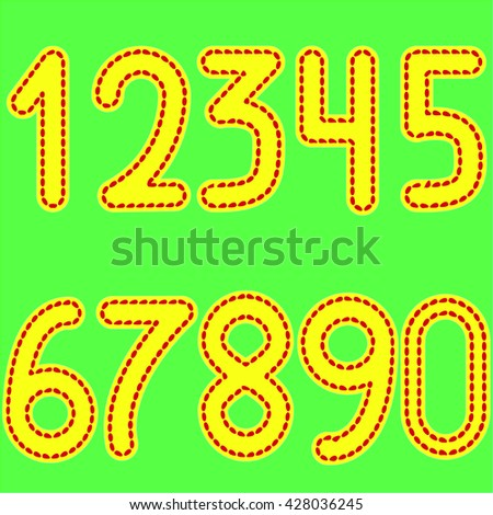 yellow numbers from 0 to 9, stitched red thread on light green background - stock photo