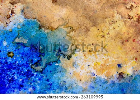 Yellow Ochre with Blue Watercolor Textures - stock photo