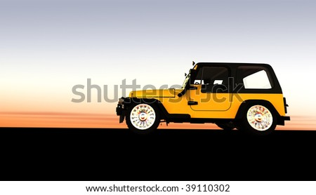 Yellow off road 4x4 at sunset / sunrise with copy space - stock photo