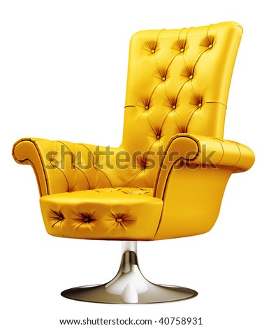 Yellow office chair with clipping path 3d - stock photo