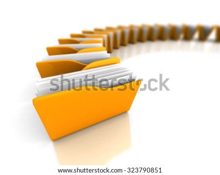 Yellow Office Document Folders On White Background. 3d Render Illustration - stock photo
