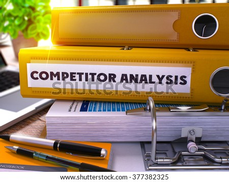 Yellow Office Folder with Inscription Competitor Analysis on Office Desktop with Office Supplies and Modern Laptop. Competitor Analysis Business Concept on Blurred Background. 3D Render.