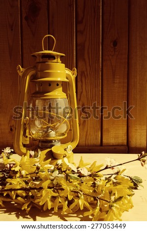 Yellow oil lamp and bouquet of spring yellow Forsythia colors against a wooden wall. A spring still life with an oil lamp. - stock photo