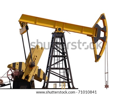 yellow,oil pump on a white background - stock photo