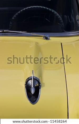 Yellow old american car - stock photo