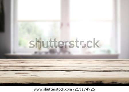 yellow old desk and window in room of kitchen  - stock photo