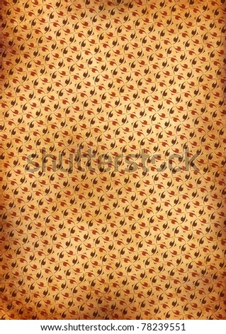 yellow old grunge wallpaper with floral ornaments - stock photo