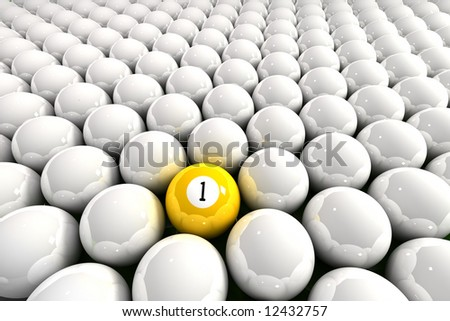 Yellow one ball surrounded by white billiard balls - stock photo