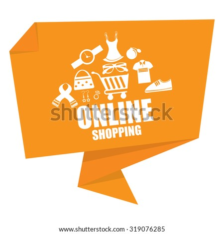 Yellow Online Shopping Paper Origami Speech Bubble or Speech Balloon Infographics Sticker, Label, Sign or Icon Isolated on White Background - stock photo