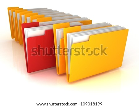 yellow open folder and one red with documents