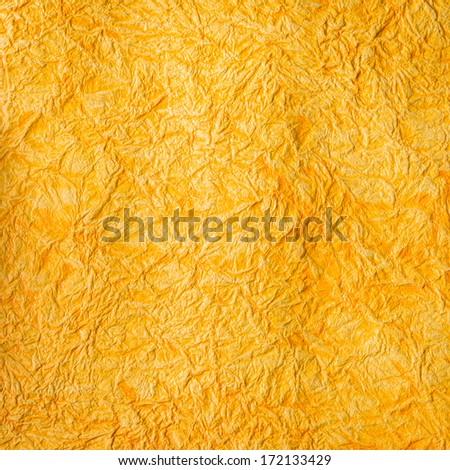 Yellow  orange craft crumpled paper texture background - stock photo