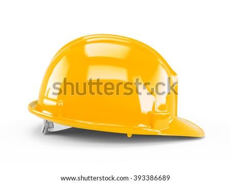 Yellow Orange plastic construction helmet isolated on white background. - stock photo